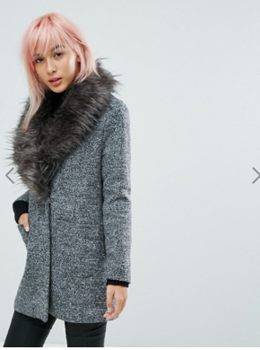 grey coat with fur