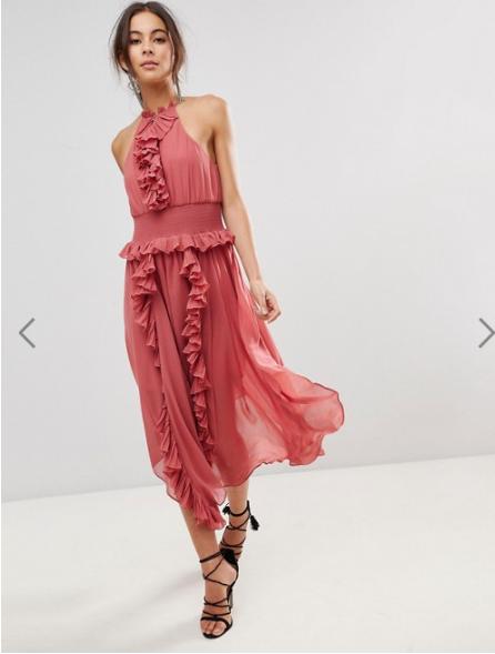 coral frill dress