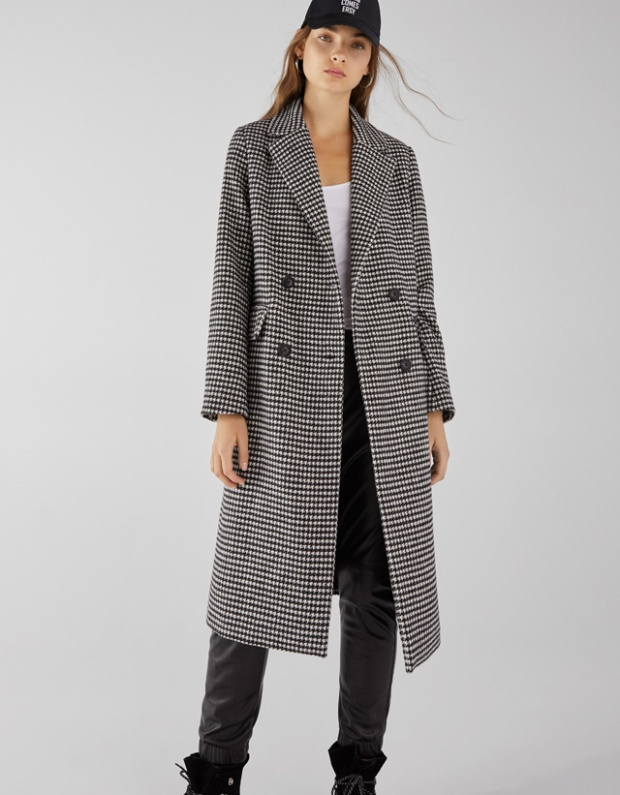 bershka long checked coat