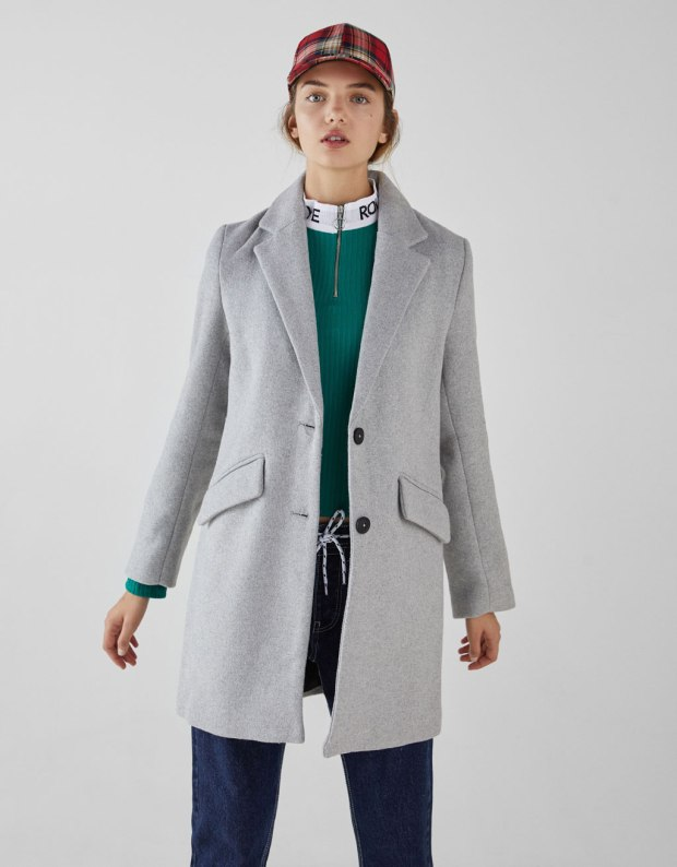 bershka straight cut wool coat